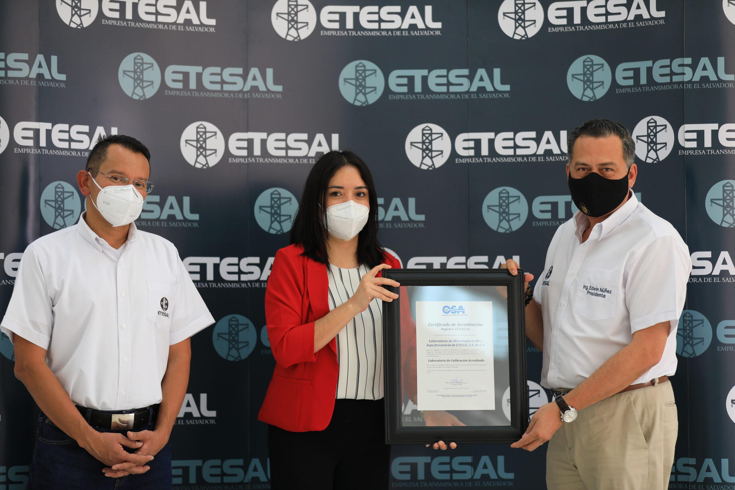 Laboratorio de Metrología en DC y baja frecuencia de ETESAL es acreditado por el OSA