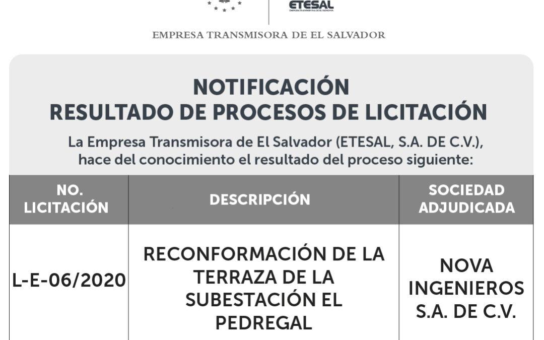 Notificación Resultado de Proceso de Licitación